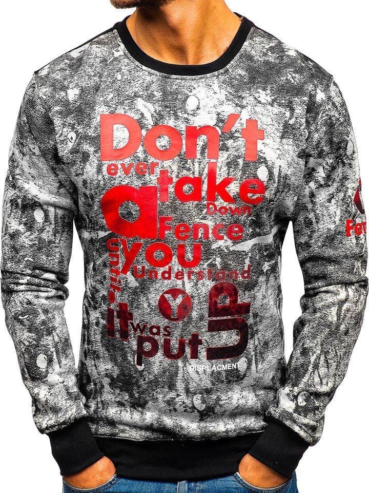 Bluză bărbați fără glugă cu imprimeu gri Bolf DD677-A