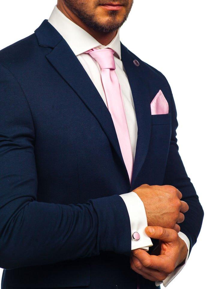 Set bărbați: cravată, butoni, batistă roz Bolf KSP01