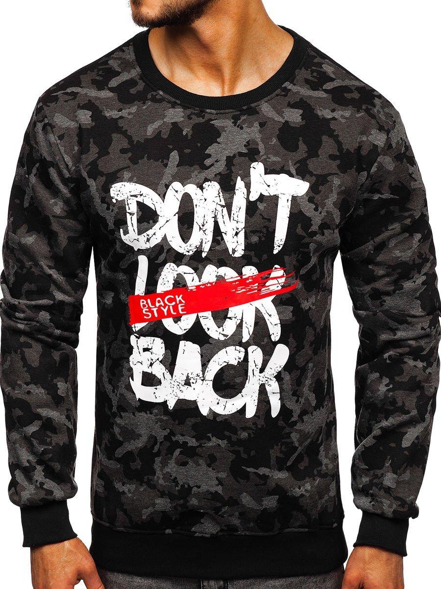 Bluză cu imprimeu bărbați neagră Bolf 22052 imagine