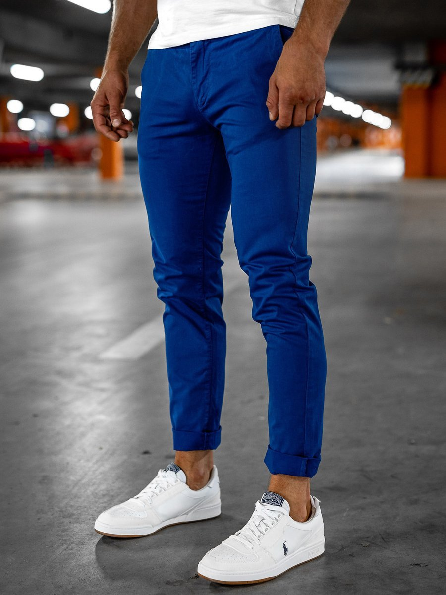 Pantaloni chinos albastru-cobalt bărbati Bolf 1146 imagine