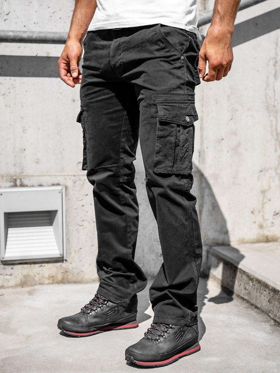Pantaloni cargo negri bărbați Bolf 1672 imagine