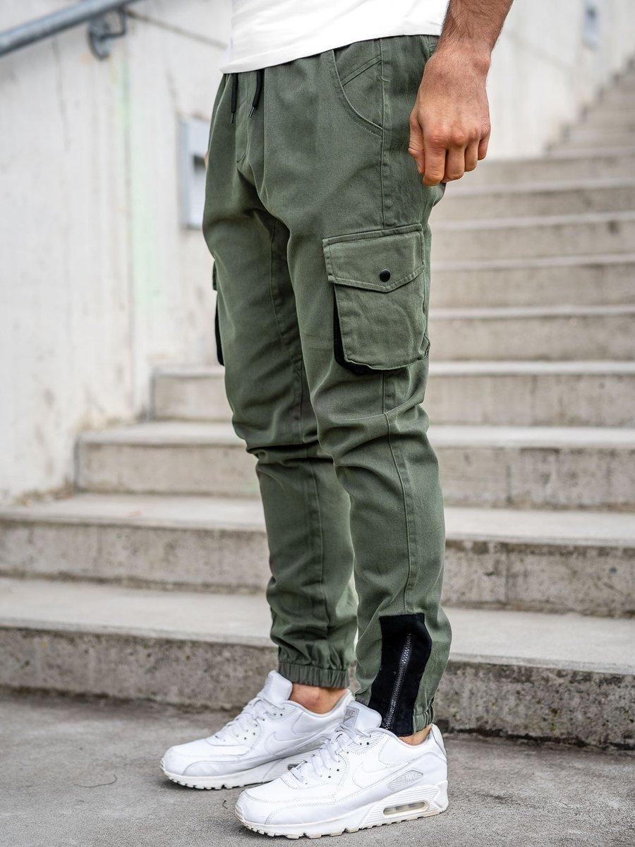 Pantaloni cargo joggers kaki Bolf 0705 imagine