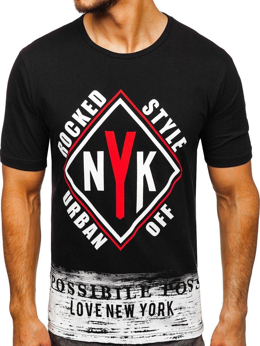 T-shirt pentru bărbat cu imprimeu negru Bolf 6305 imagine