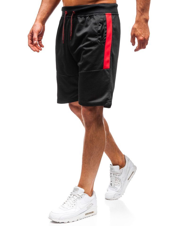 Pantaloni scurți de trening bărbați negri Bolf 81007