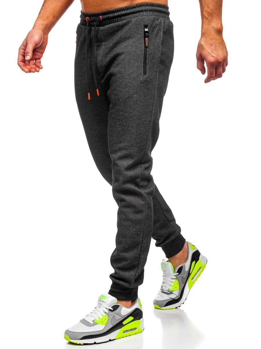 Pantaloni de trening negru-portocaliu Bolf Q1054