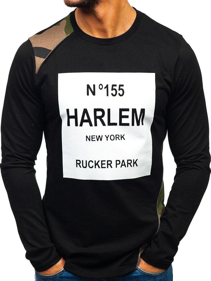 Bluză fără glugă cu imprimeu pentru bărbat neagră-verde Bolf 0756