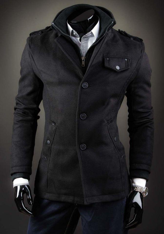 Palton negru bărbați un rând de nasturi guler înalt Bolf 8853D imagine