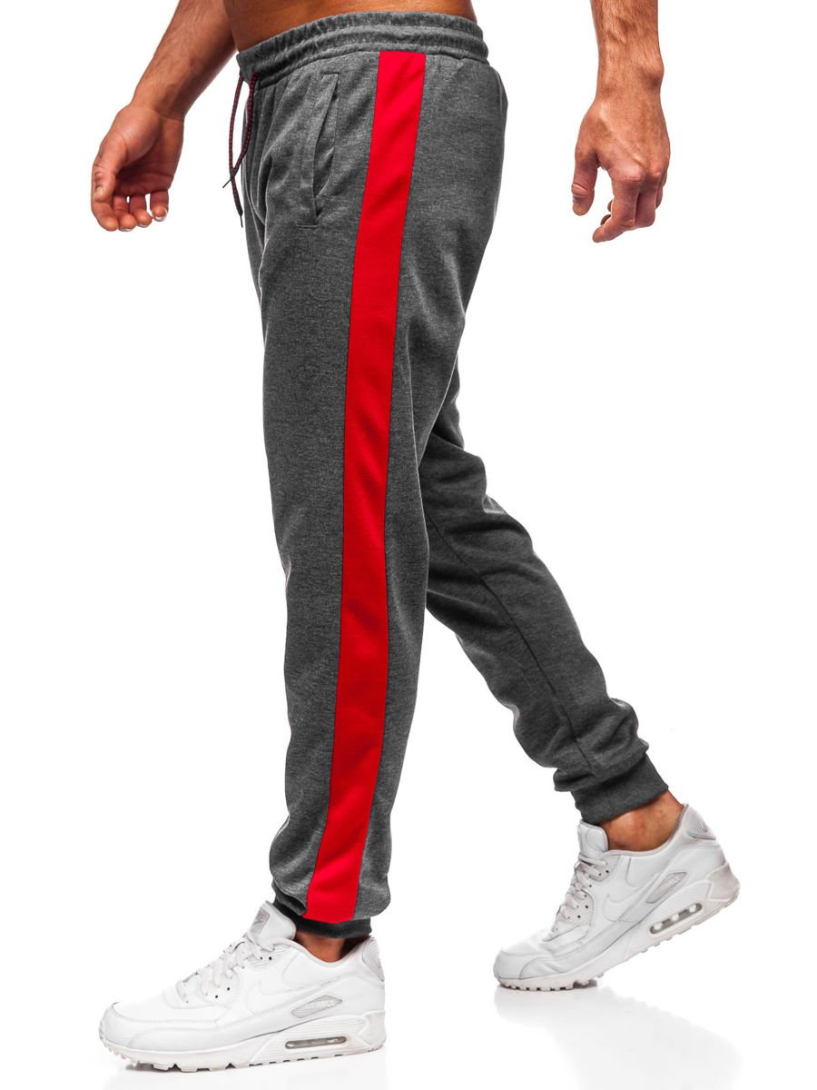 Pantaloni de trening grafit-rosu Bolf JZ11006 imagine