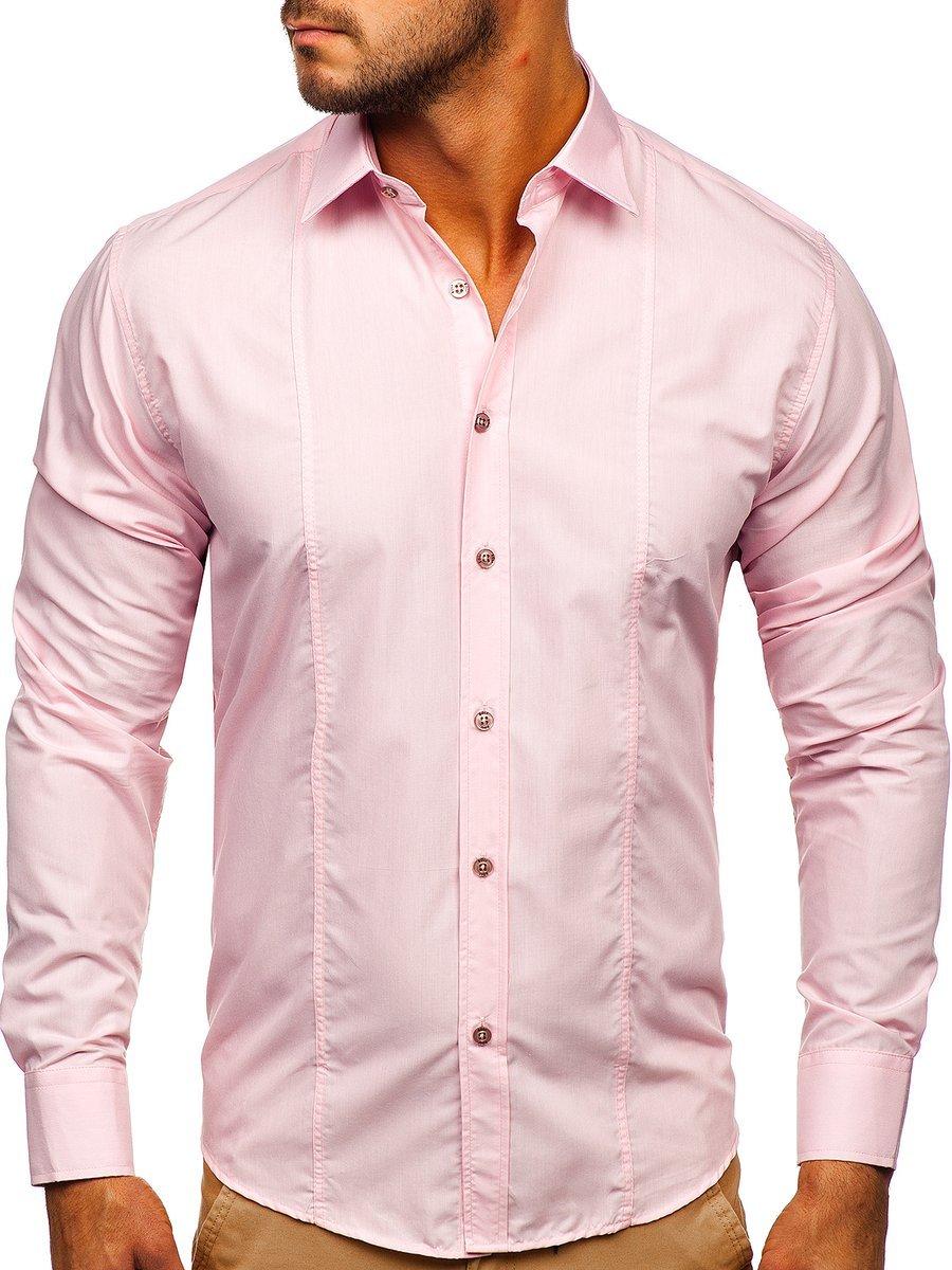 Cămașă elegantă mâneca lungă roz Bolf 4705G imagine