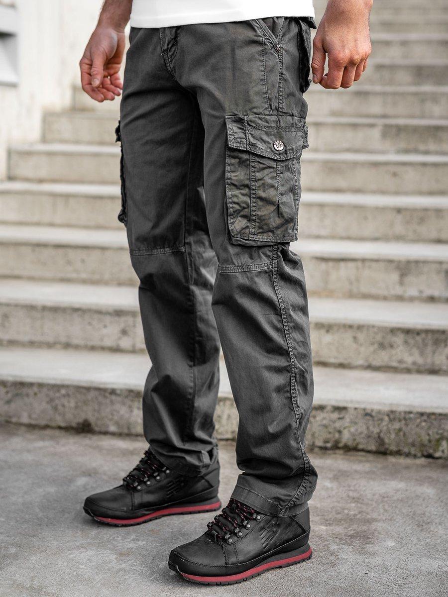Pantaloni grafi-inchis cargo cu curea Bolf CT8906 imagine