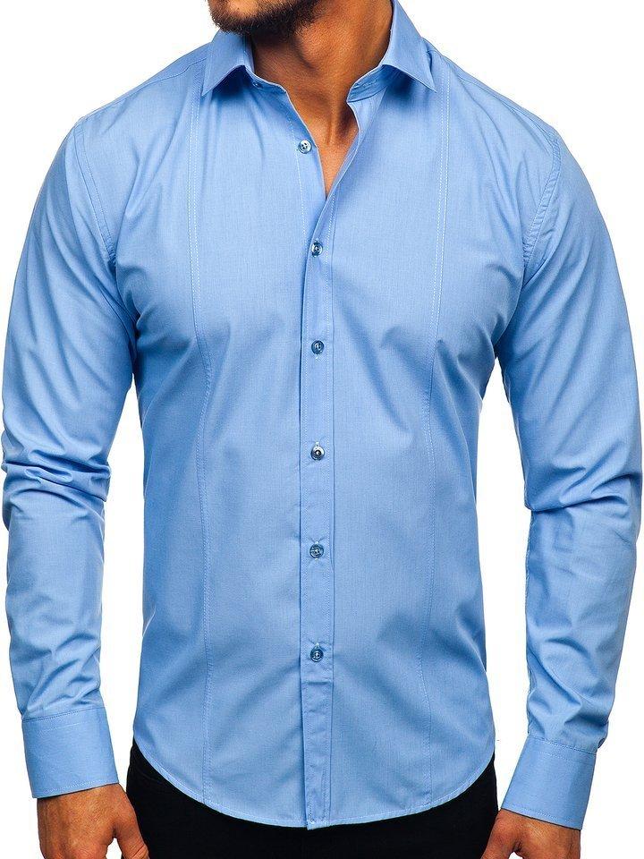 Cămașă elegantă cu mâneca lungă pentru bărbat albastru-deschis Bolf 6944