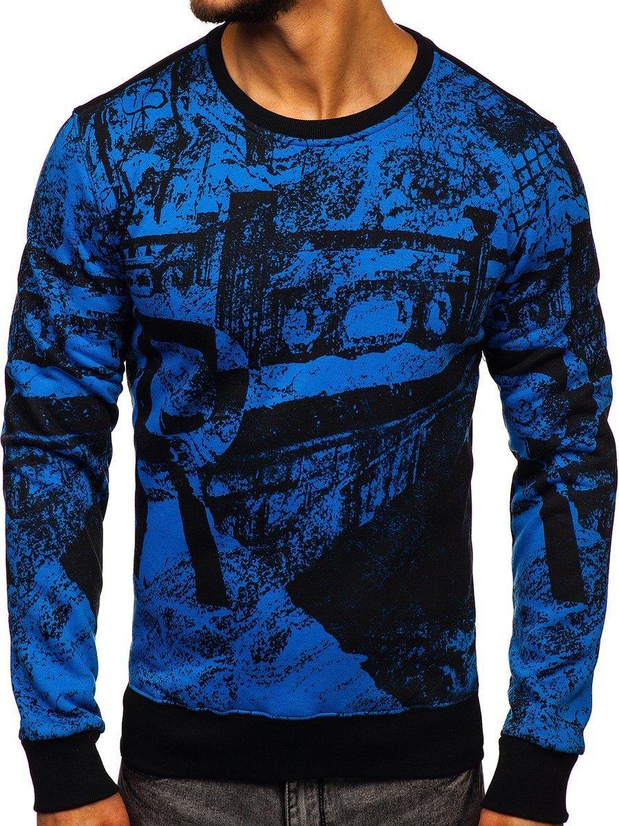 Bluză fără glugă cu imprimeu pentru bărbat albastră Bolf DD659
