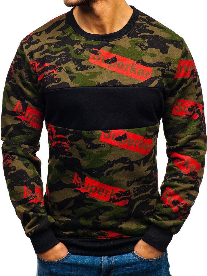 Bluză pentru bărbat fără glugă cu imprimeu verde Bolf 22021 imagine