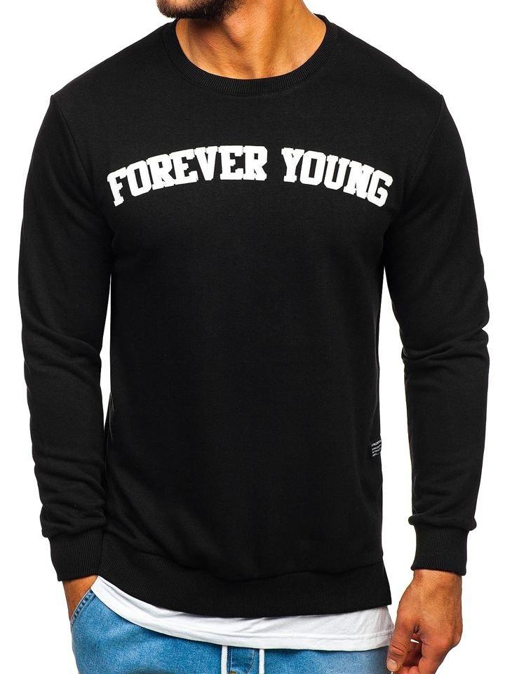 Bluză bărbați cu imprimeu FOREVER YOUNG neagră Bolf 11116 imagine
