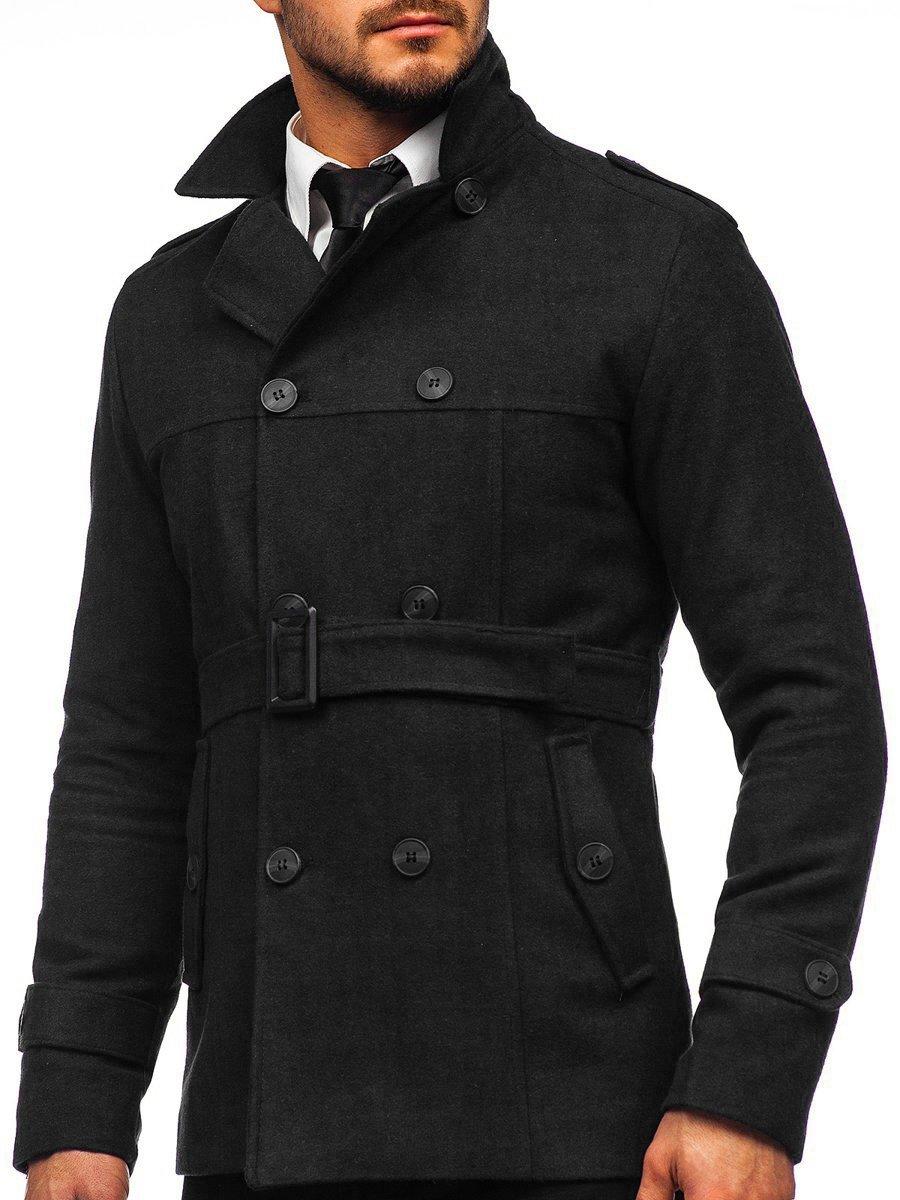 Palton negru de iarnă două rânduri de nasturi guler înalt Bolf 0009 imagine