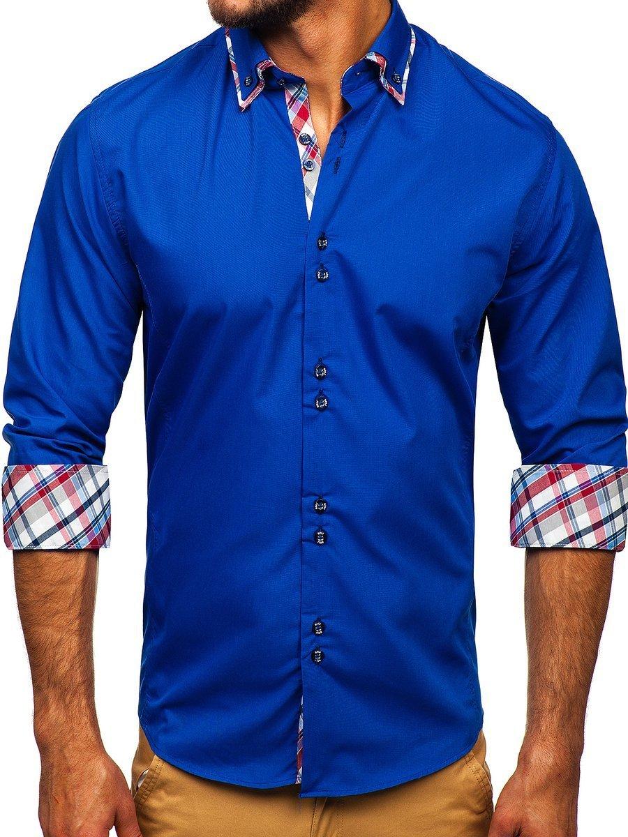 Cămașă elegantă pentru bărbat în dungi cu mâneca lungă albastru-deschis Bolf 4704