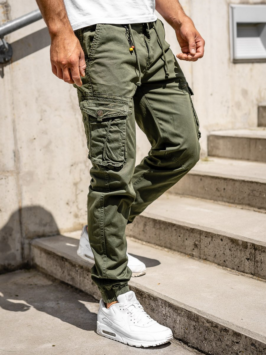 Pantaloni cargo joggers verzi bărbați Bolf CT6703 imagine