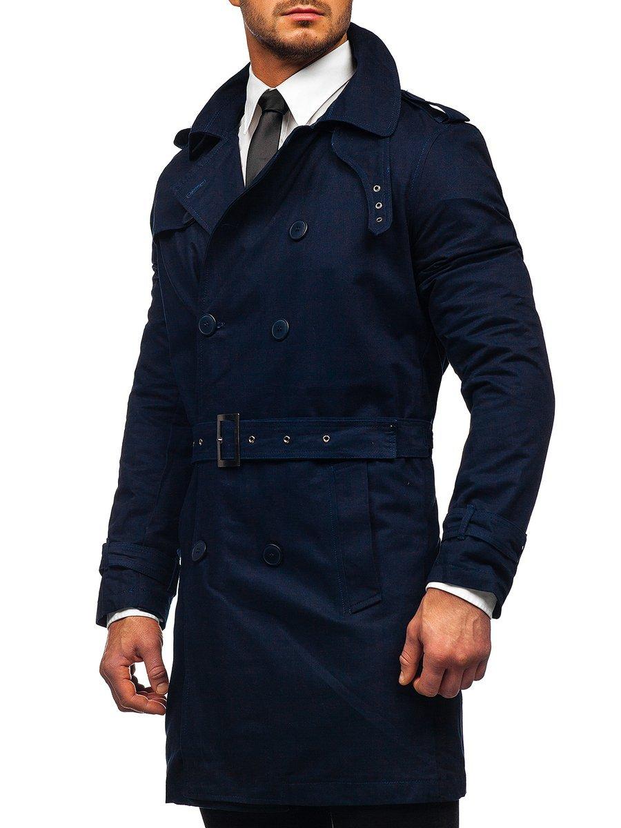 Palton bleumarin două rânduri de nasturi cu guler înalt și curea Bolf 5569 imagine