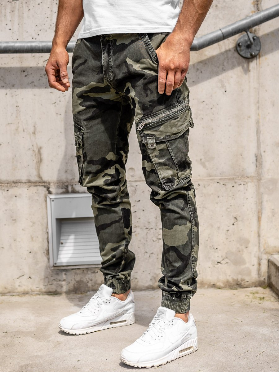 Pantaloni cargo verde cu curea bărbați Bolf CT67015 imagine