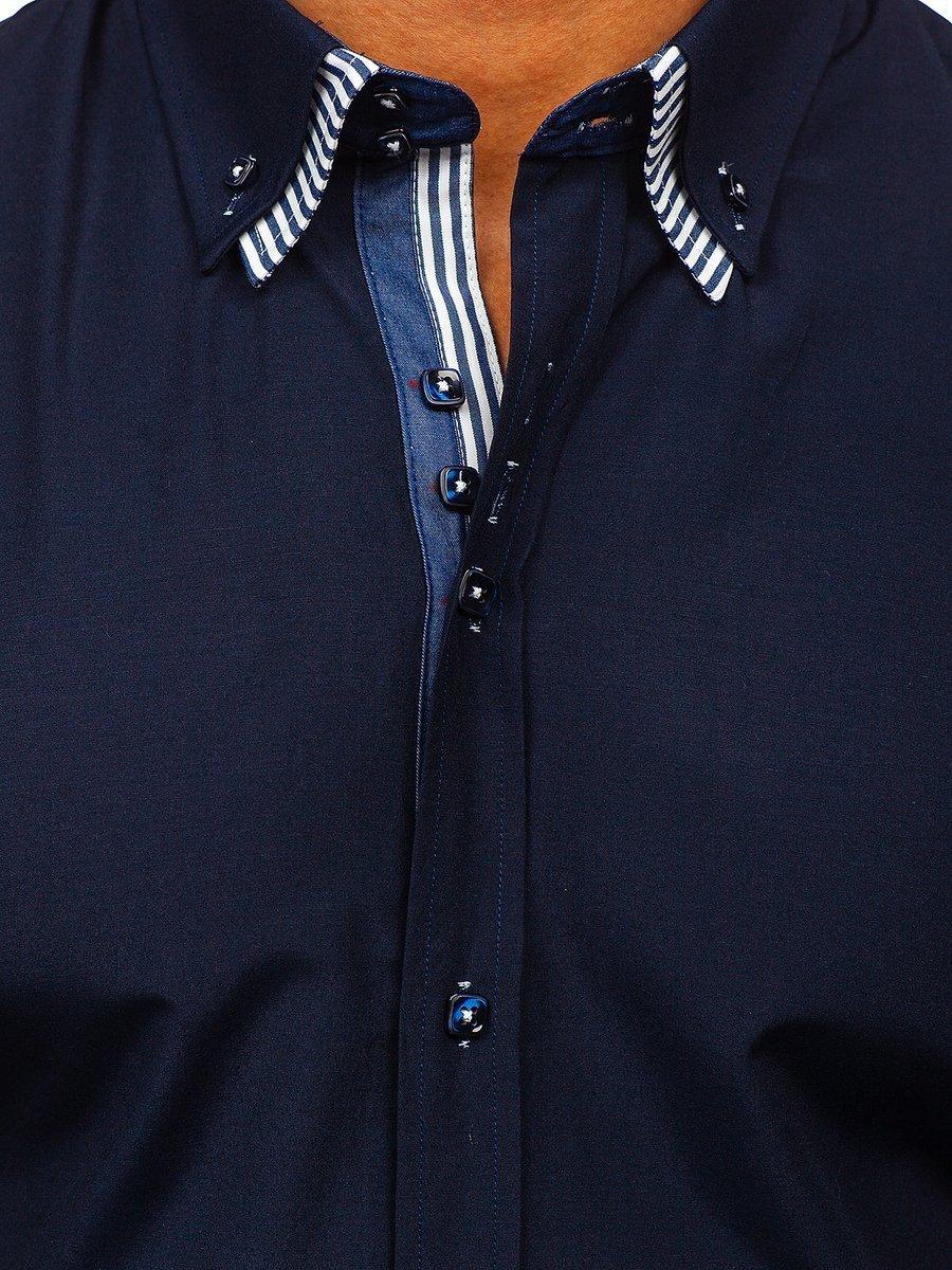 Cămașă cu mâneca scurtă pentru bărbat bleumarin Bolf 2911