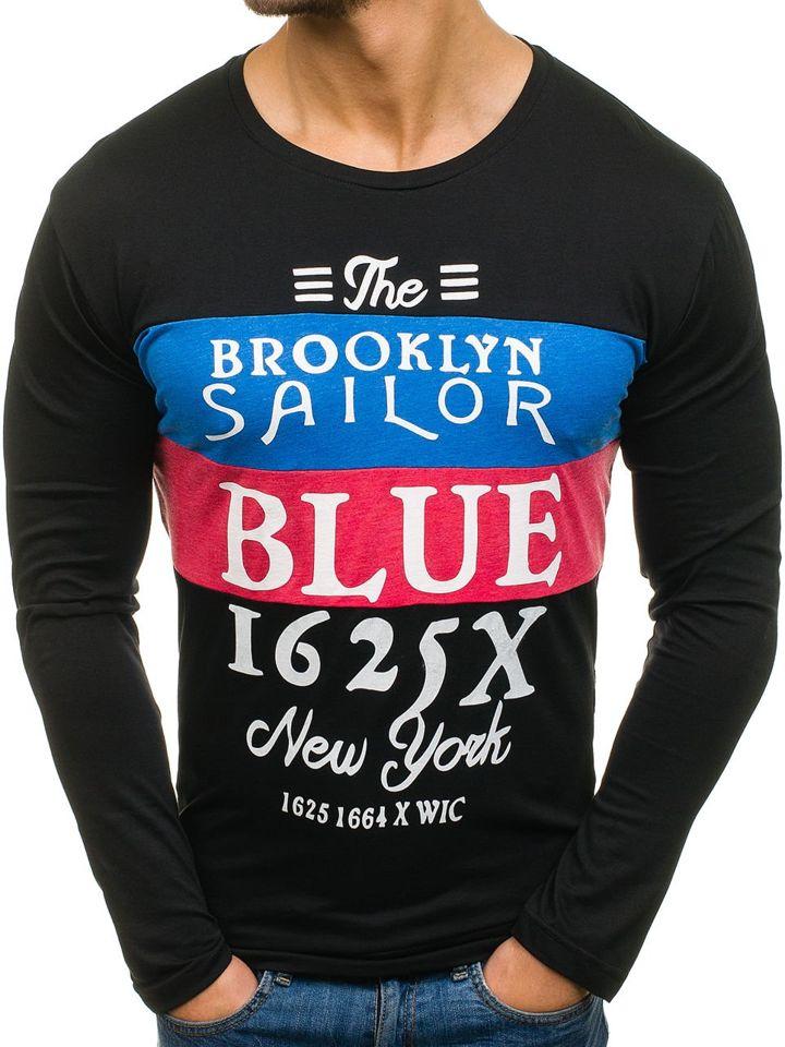 Bluză pentru bărbat fără glugă cu imprimeu neagră Bolf 1153