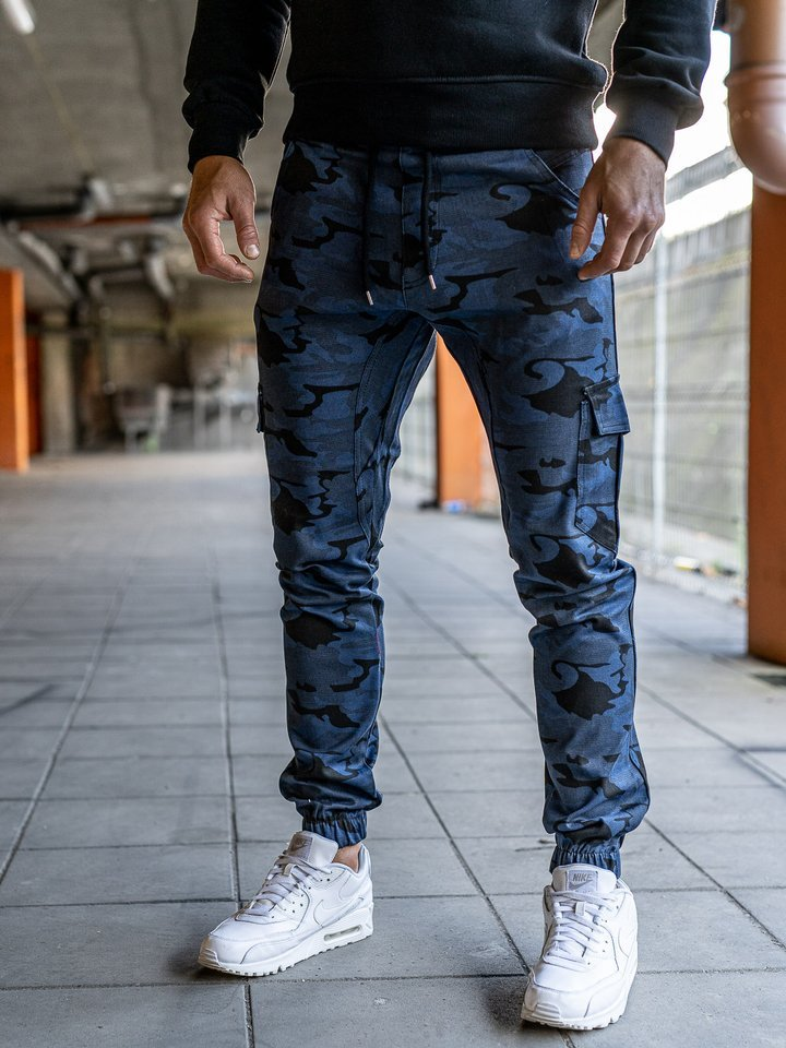 Pantaloni joggers cargo pentru bărbat albaștri Bolf 0404 imagine