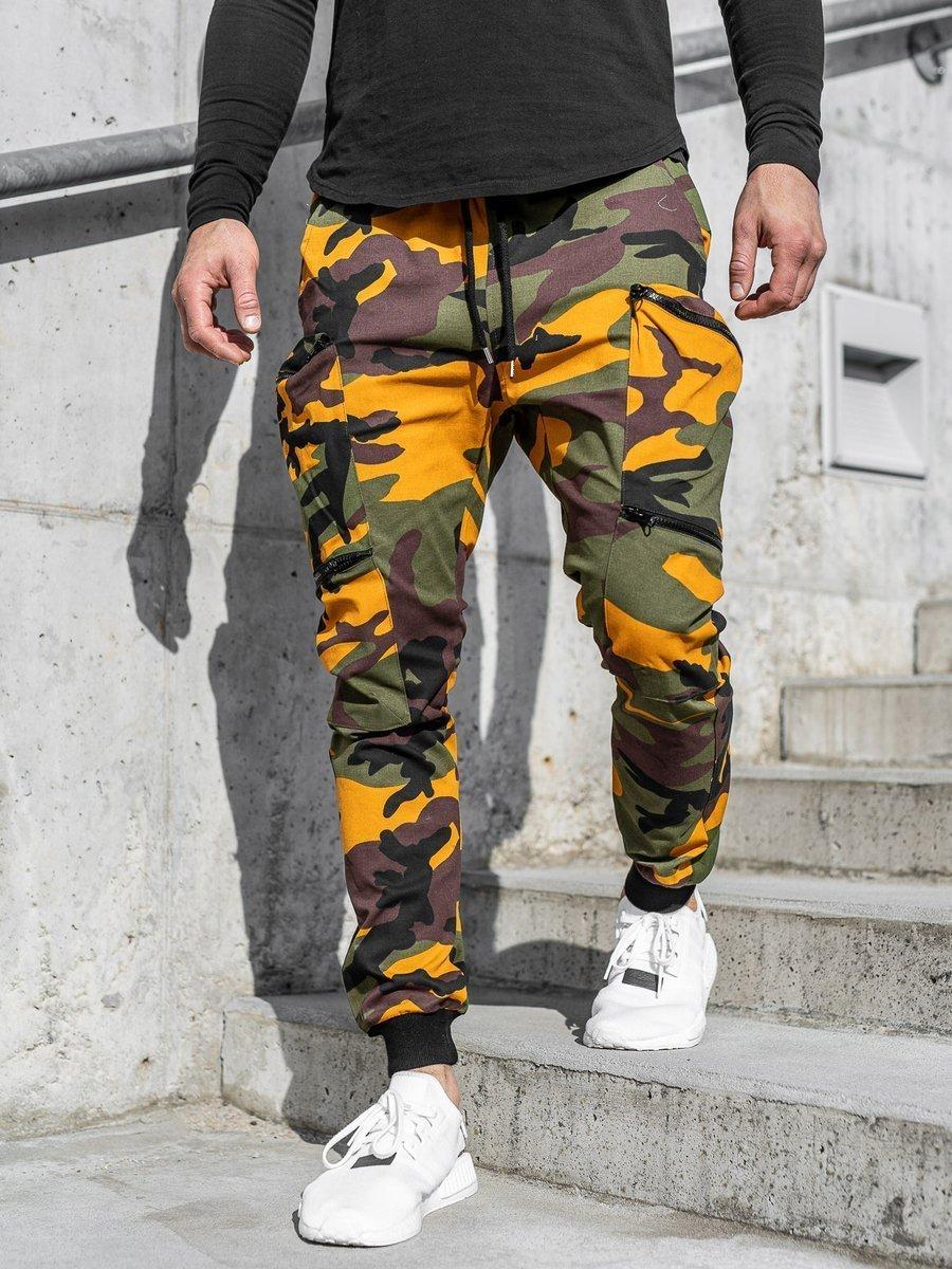 Pantaloni trening verde-portocaliu bărbați Bolf 0475 imagine