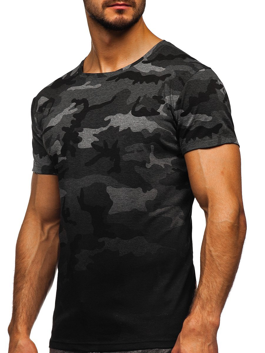 Tricou cu imprimeu bărbați camuflaj-grafit Bolf S808