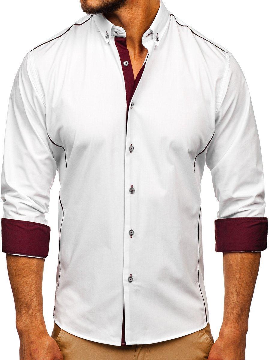 Cămașă elegantă pentru bărbat cu mâneca lungă albă-bordo Bolf 5722-1