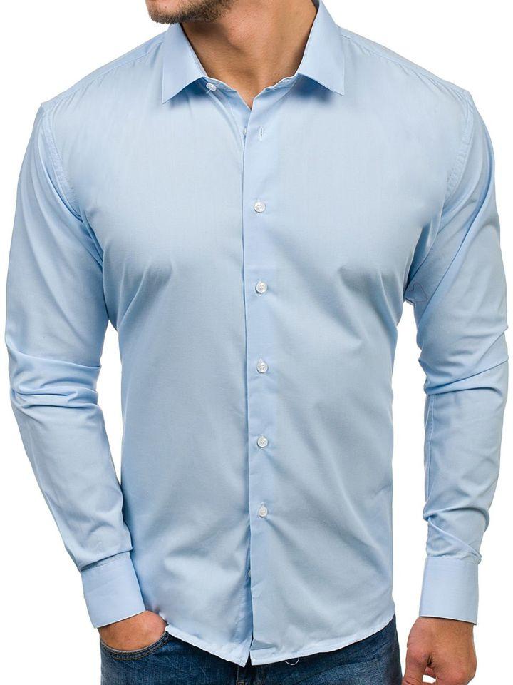Cămașă elegantă cu mâneca lungă pentru bărbat albastră Bolf TS100
