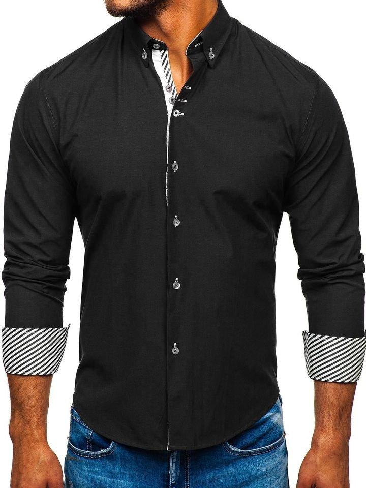 Cămașă elegantă bărbați negru Bolf 5796-1