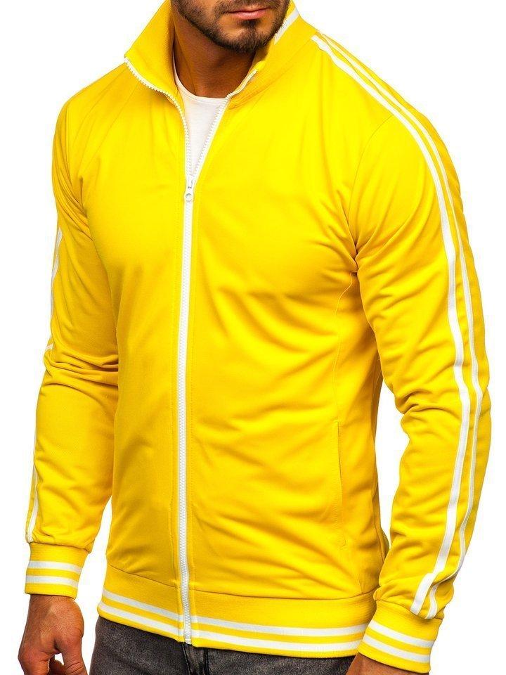 Bluză retro style cu fermoar bărbați galbenă Bolf 11113