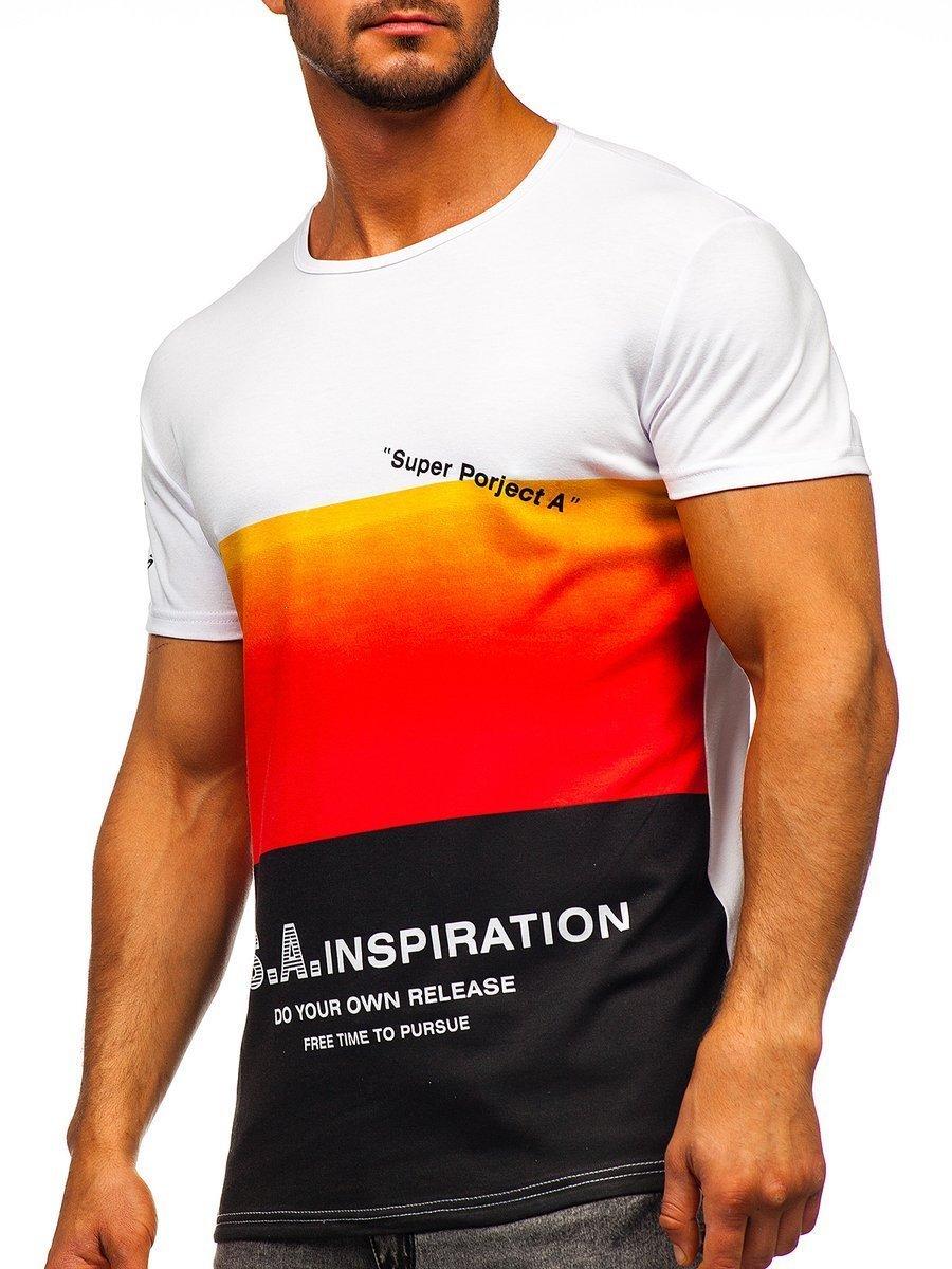 Tricou cu imprimeu bărbați roșu Bolf SS10919 imagine