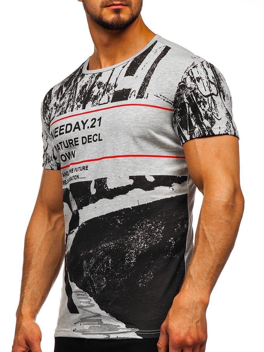 Tricou cu imprimeu bărbați gri Bolf SS671 imagine