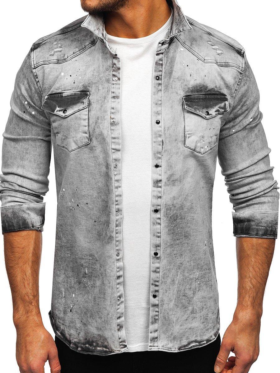 Cămașă de blugi gri mâneca lungă Bolf R709 imagine