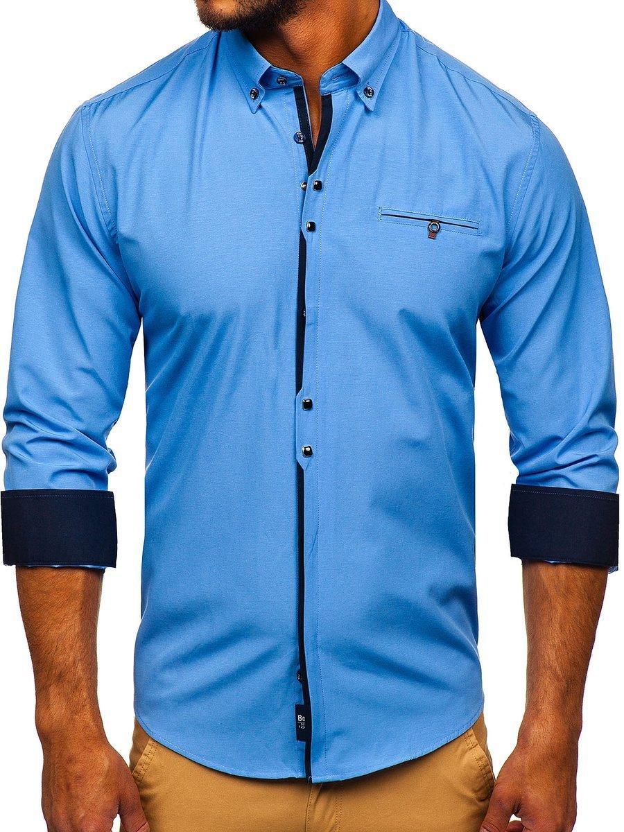 Cămașă elegantă pentru bărbat cu mâneca lungă albastră-deschis Bolf 7720