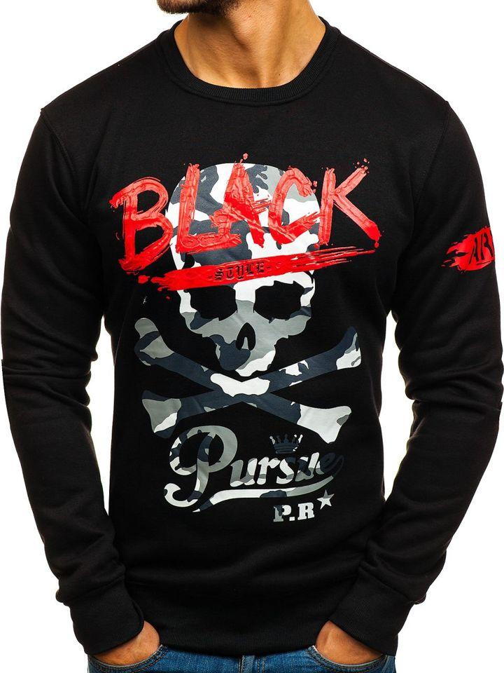 Bluză pentru bărbat fără glugă cu imprimeu neagră Bolf DD228