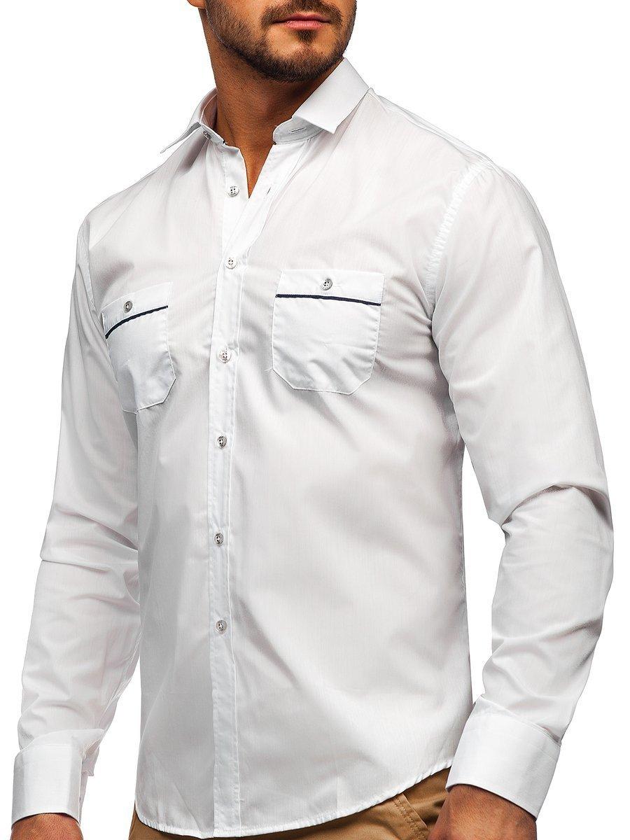 Cămașa elegantă pentru bărbat cu mâneca lungă albă Bolf 5792 imagine