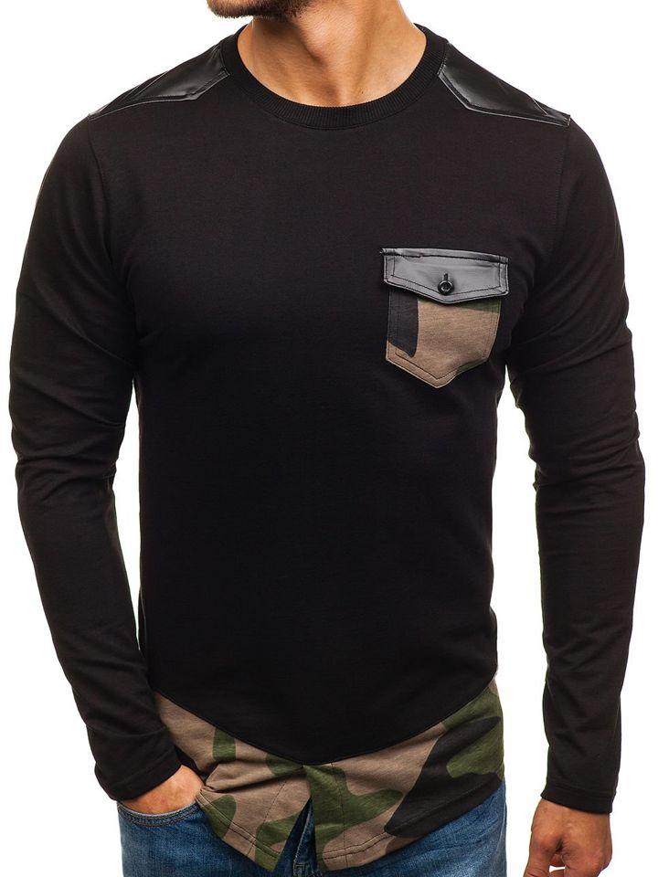Bluză fără glugă pentru bărbat neagră-verde Bolf 0753