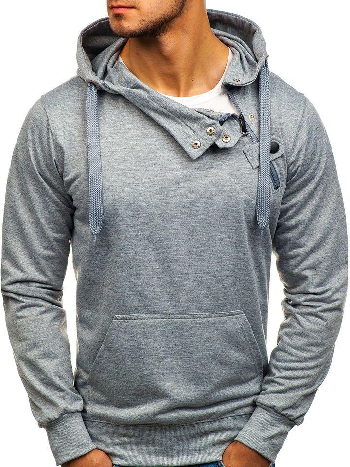 Bluză cu glugă pentru bărbat gri Bolf 7087