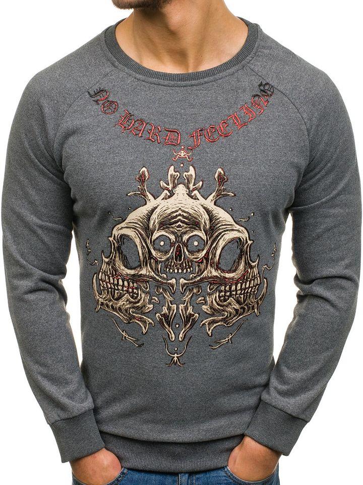 Bluză pentru bărbat fără glugă cu imprimeu grafit Bolf 171492