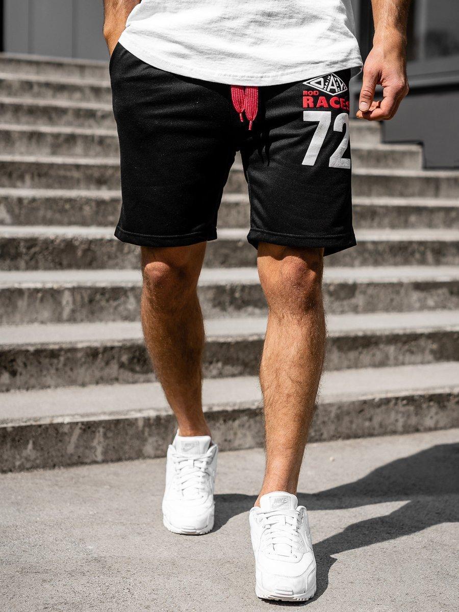 Pantaloni scurți sportivi pentru bărbat negri Bolf EX05 imagine