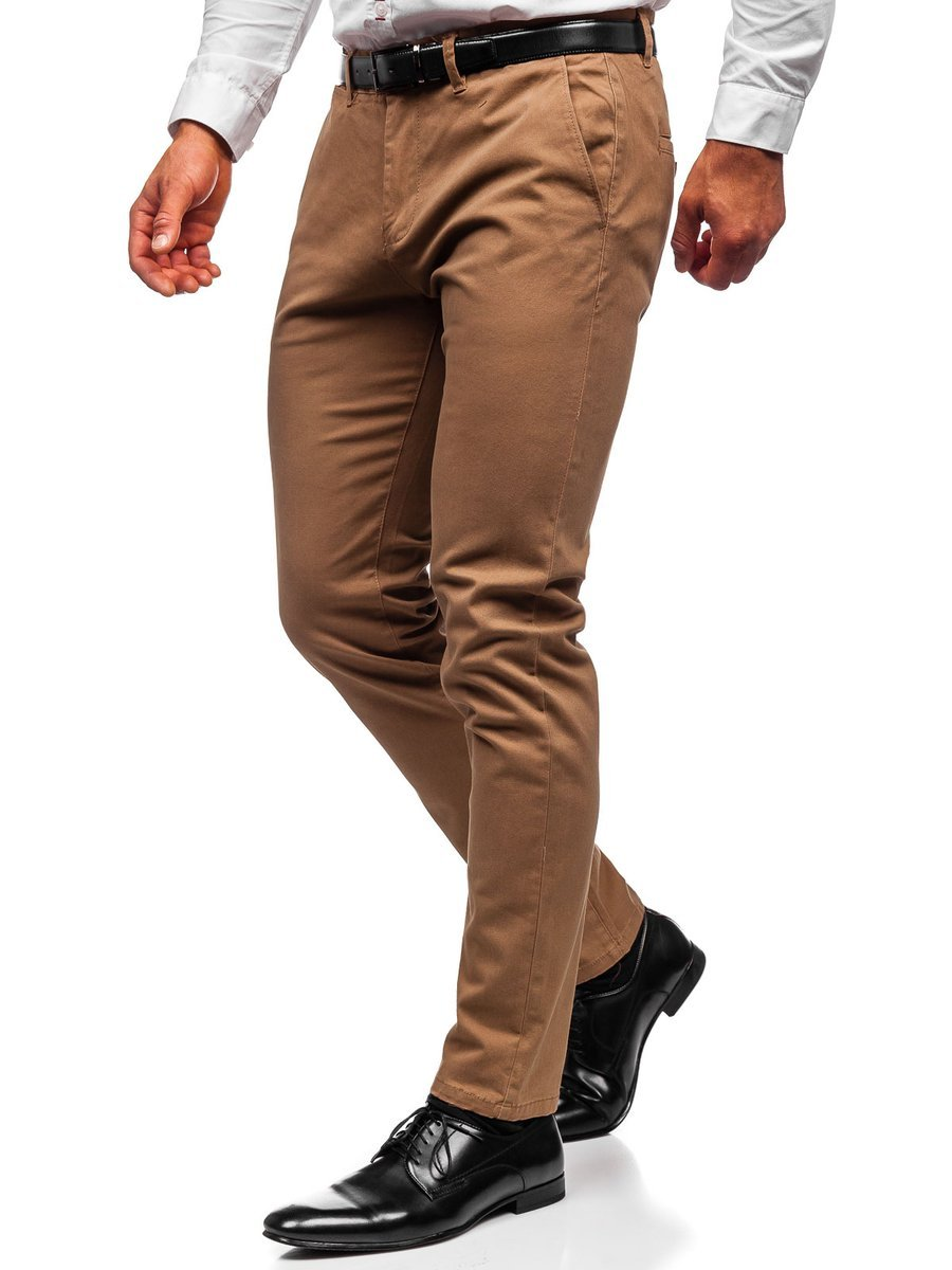 Pantaloni chinos camel bărbati Bolf 1143