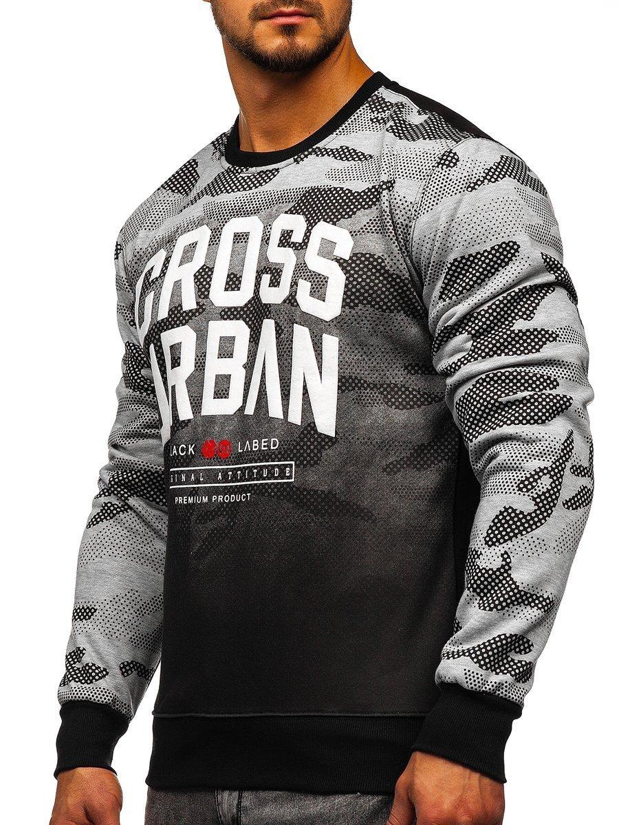 Bluză pentru bărbat fără glugă cu imprimeu gri Bolf DD157