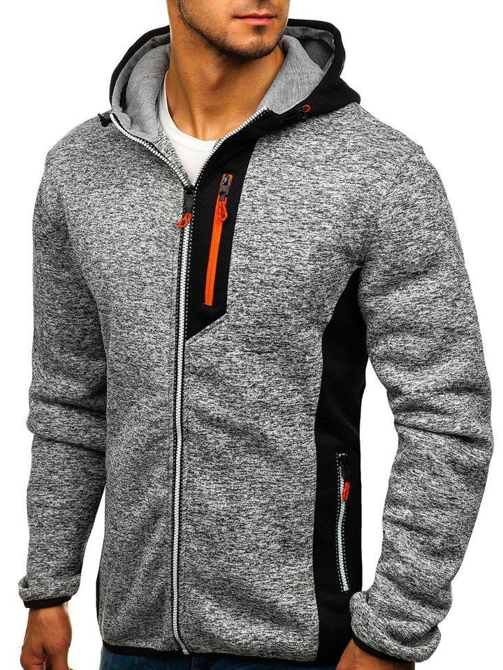 Bluză pentru bărbat cu glugă și fermoar gri Bolf TC828 imagine