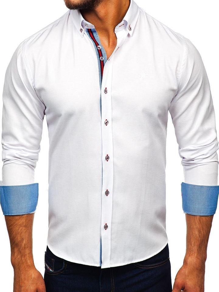 Cămașă elegantă bărbați alb Bolf 5801-A
