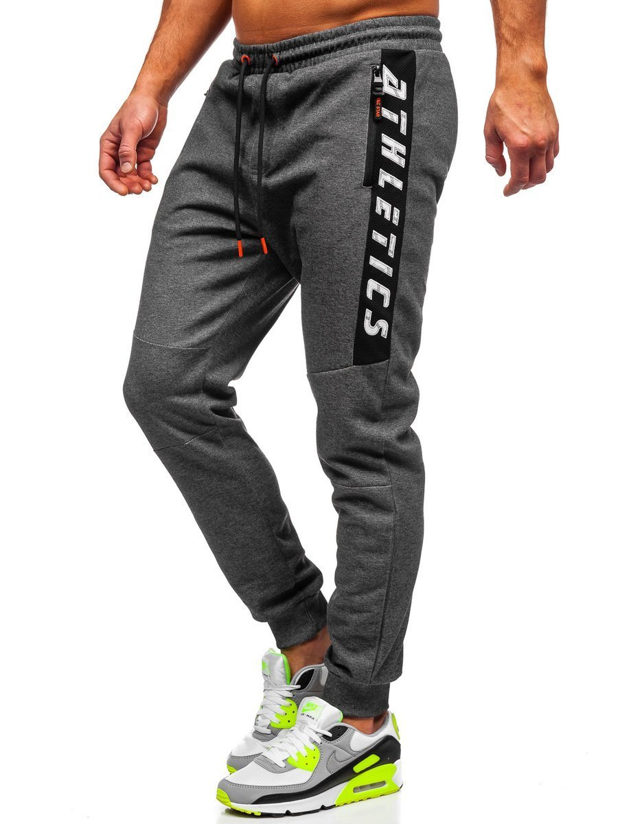 Pantaloni de trening cu imprimeu grafit-portocaliu Bolf Q1037
