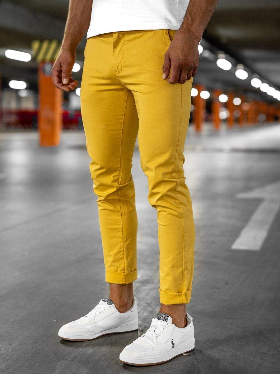 Pantaloni chinos galbeni bărbati Bolf 1146 imagine