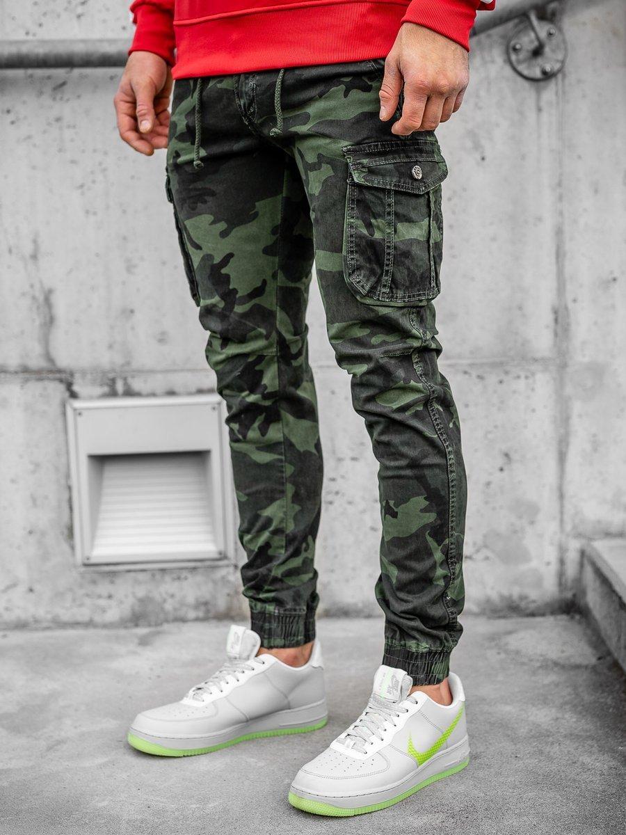 Pantaloni joggers cargo verde-închis Bolf CT6019