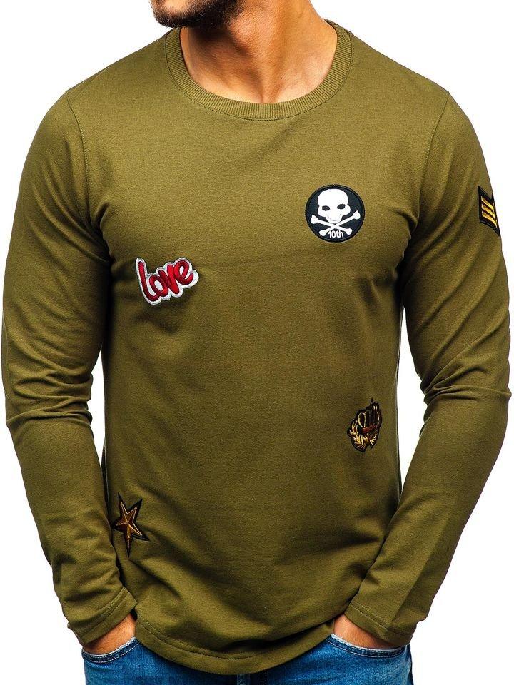 Bluză fără glugă cu imprimeu pentru bărbat kaki Bolf 0734